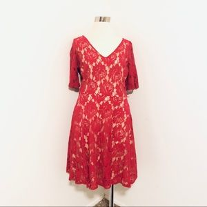 Danny & Nicole Red Lace Christmas Dress